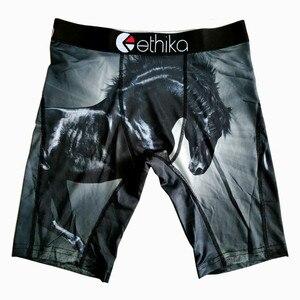 Image 5 - Hip hop Male Underpants Brand Sport Underwear Men Breathable Polyester Spandex Boxer Long Man Cartoon Print mens boxers long leg