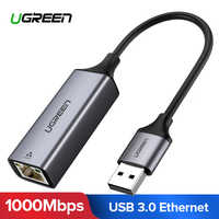 Ugreen USB Ethernet Adapter USB 3.0 2.0 Network Card to RJ45 Lan for Windows 10 Xiaomi Mi Box 3 Nintend Switch Ethernet USB