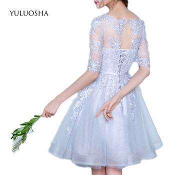 YULUOSHA Short Bridesmaid Dress Wedding Party Dress for Women O-Neck Lace Appliques Burgundy Infinity Dress Wedding Guest Dress