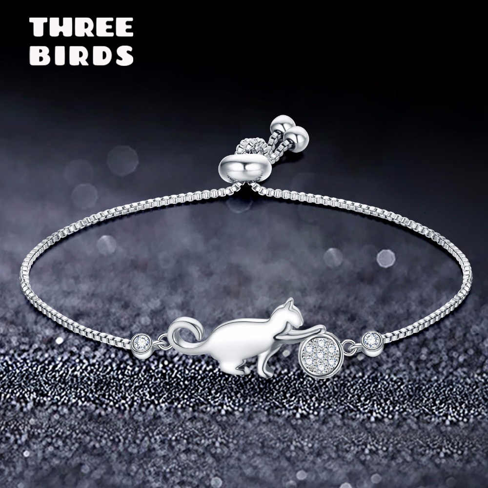 Trendy Cubic Zirconia Crystal Silver Cat and Ball Bracelets Luxury Charm Lovely Adjustable Bracelets for Women Fashion Jewelry