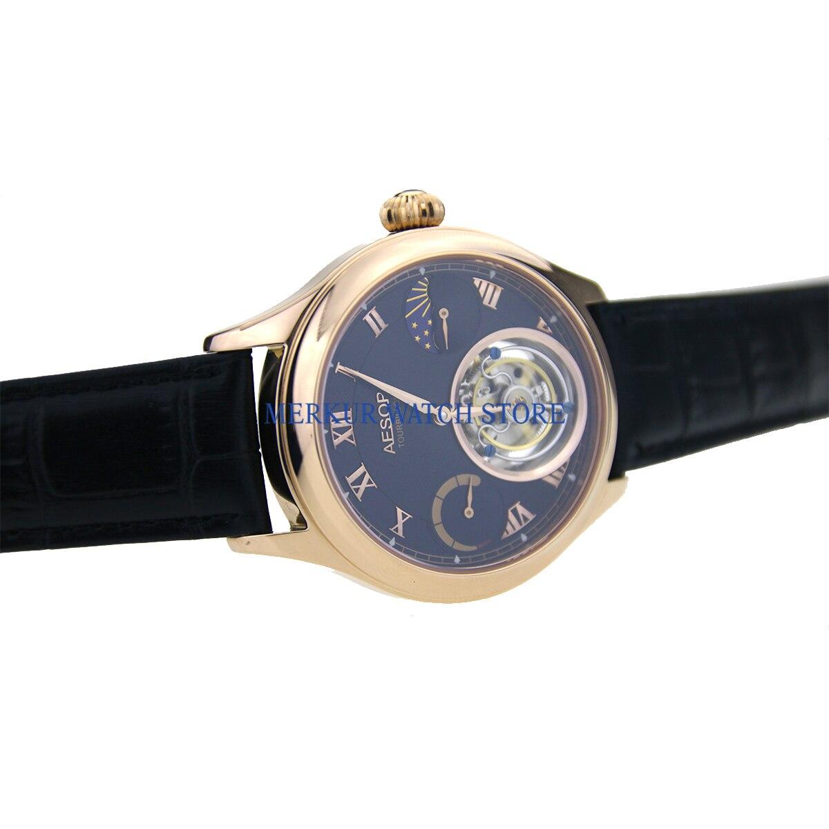 Merkur Mens Watch Mechanical Seagull Hangzhou High Beat Tourbillon Movement Skelenton Luxury   Dress Gold Plated Black Dial