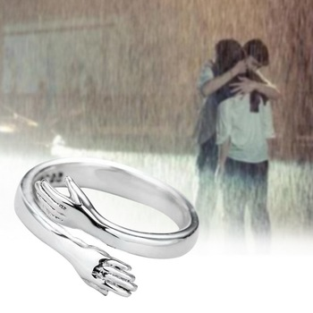 Todorova New Romantic Hand with Love Hug Rings Adjustable Love Forever Open Finger Ring Lover Jewelry Gift For Women Men image