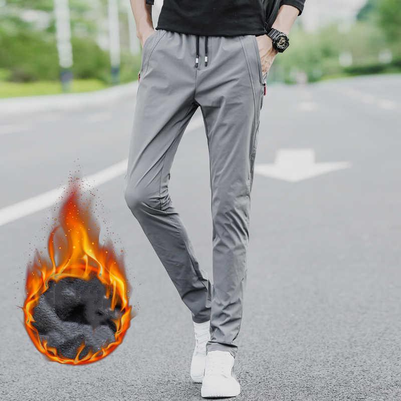 HCXY 2019 新ブランド秋冬カジュアルメンズの暖かい弾性ウエストパンツ男性速乾性プラスベルベットのズボン