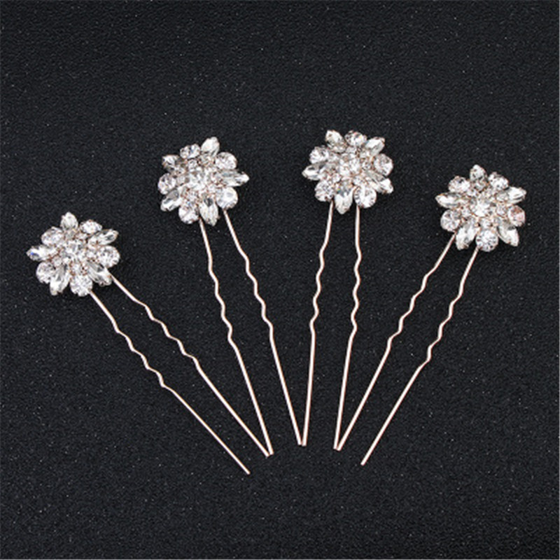 4Pcs Simple Crystal Bridal Hairpin Sets Rhinestone Women Accessories Statement Handmade Bride Headwear Flower Bridal Headpiece