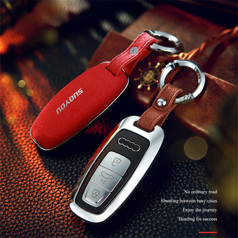 Suede Fur Zinc alloy Car Key Case Cover For Audi A6 C8 A7 A8 2018 2019 smart shell Accessories Keychain Holder Keyring durable image