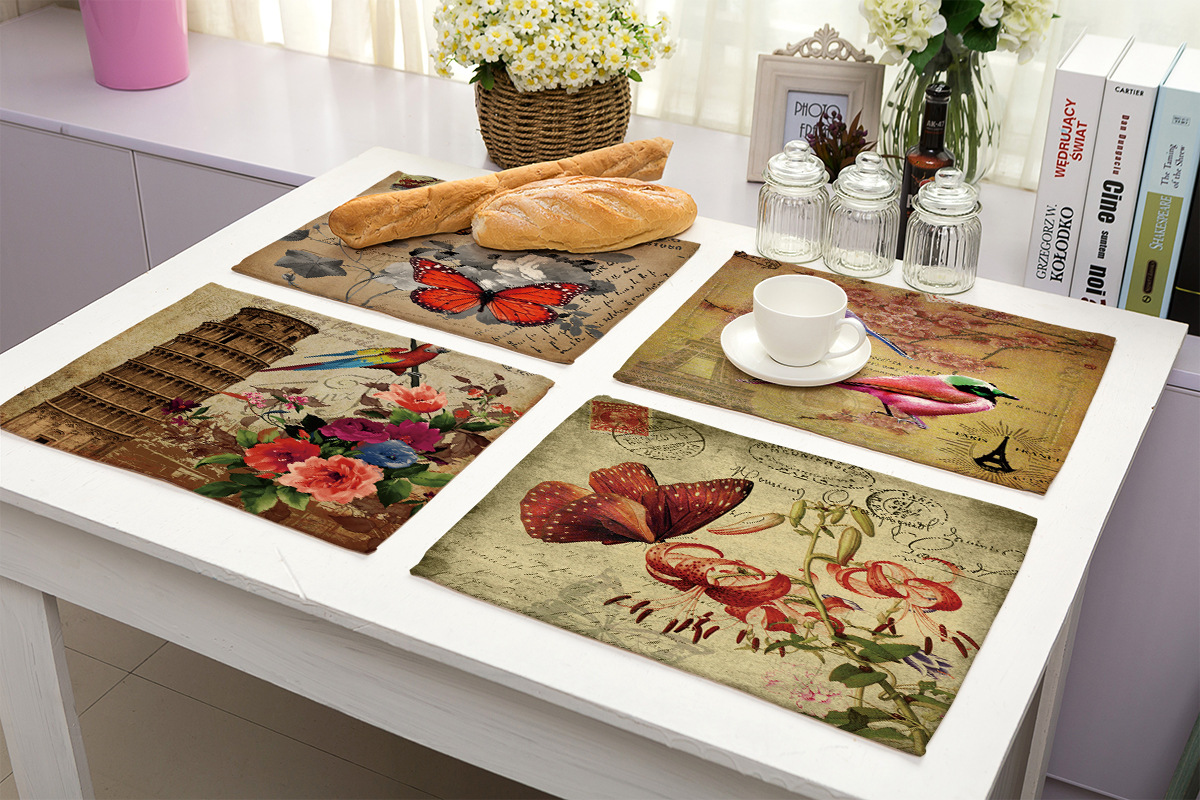 Colourful Flower Butterfly Glass Placemat Kitchen Table Worktop Saver Protector
