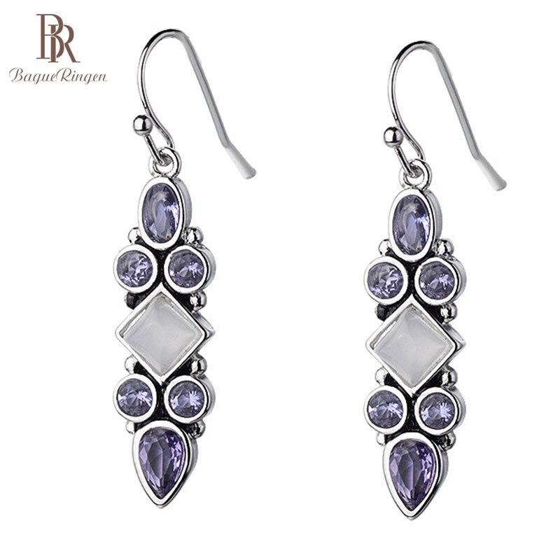Bague Ringen Vintage Thai Silver 925 Earrings With Moonstone Purple Lamethyst Charm Women Jewelry  Wedding Party Gift Wholesale
