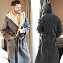 Winter Plus size Men's bathrobe Terry  Hooded Flannel Long Bath Robe Male Long Robe Home Warm Dressing Gown Sleep wear Nightwear