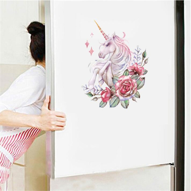 1PC Kitchen Refrigerator Door Wall Decal Rabbit Unicorn Toilet Wall Sticker For Living Room Bedroom Bathroom Home Decor 25*30cm
