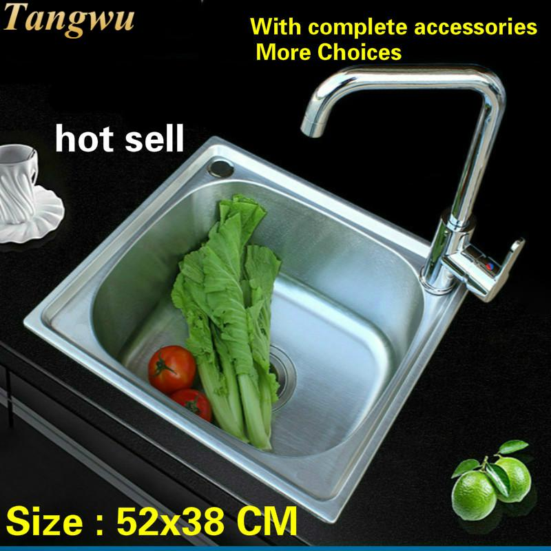 Free Shipping Hot Sell 304 Stainless Steel Balcony Kitchen Sink Mini Ordinary Single Slot 52x38 CM