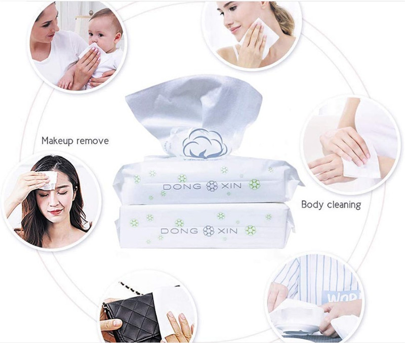 Disposable washcloth Face and Hand Cleaning Cotton, Pure Cotton Baby Wipes, Best Makeup Cotton, Dry and Wet Use-80count in 1Pack 3