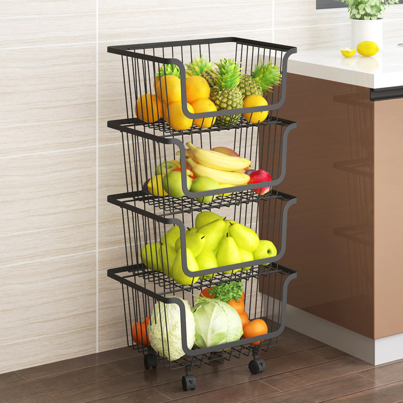 A Generation Of Fat Stainless Steel Kitchen Black And White With Pattern Multilayer Floor Storage Basket Fruit & Vegetable Stora
