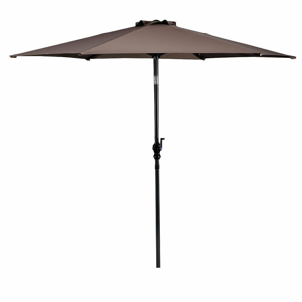 Costway 10FT Patio Umbrella 6 Ribs Market Steel Tilt W/ Crank Outdoor Garden Tan