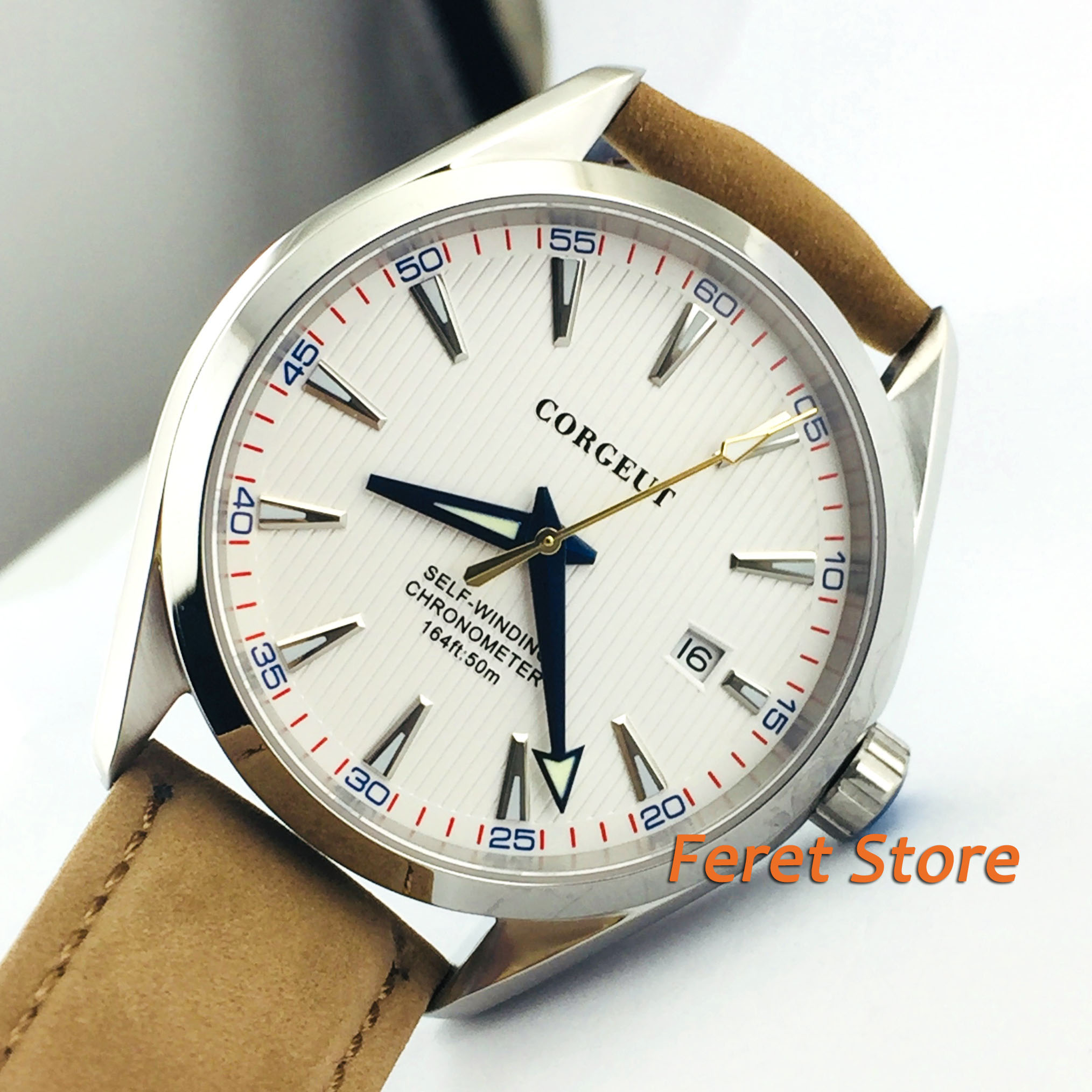 Corgeut 41mm men's watch white dial silver marks sapphire glass Polished case 5ATM water resistance Automatic watch c15