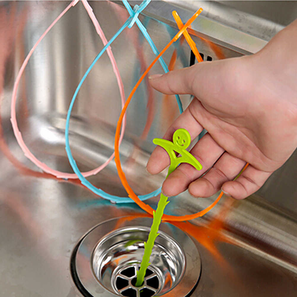 1pc 51cm Kitchen Bathroom Sink Pipe Drain Cleaner Pipeline Hair Cleaning Removal Shower Toilet Sewer Clog Long Line Plastic Hook