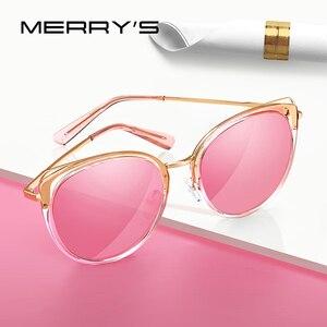 Image 1 - MERRYS تصميم النساء الفاخرة العلامة التجارية القط العين النظارات الشمسية السيدات موضة نظارات شمسية مستقطبة UV400 حماية S6139