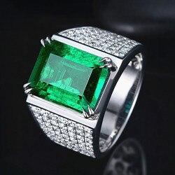 Luxe vert cristal émeraude pierres précieuses diamants anneaux pour hommes or blanc argent couleur bijoux bijoux bague accessoires de mode