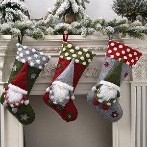 Безликая кукла большой Рождественский чулок рождественские украшения для дома Adornos De Navidad 2021 Новогодние рождественские носки декоративные