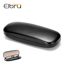 Elbru Retro Black PU Leather Glasses Case Box Simple Hard Eyeglasses Protector Storage Case Storage Boxes Container Organizer