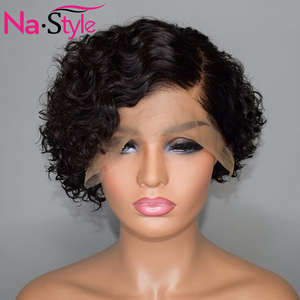 Image 4 - Pixie Cut Lace Wig Preplucked Blunt Cut Bob Lace Front Wigs Short Human Hair Wigs 150 250 Curly 13x4 Lace Front Human Hair Wigs