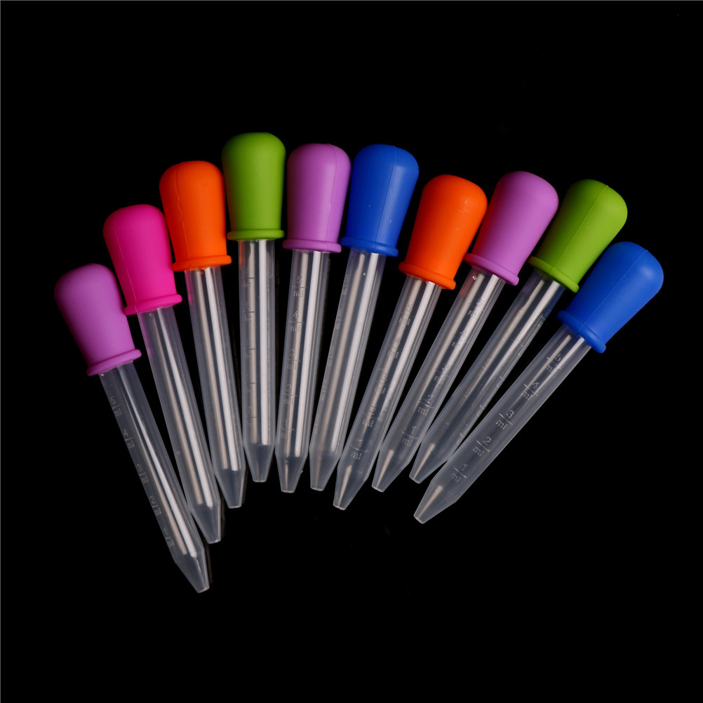 10pcs 5ml Clear Silicone Baby Medicine Feeder Dropper Graduated Pipette Liquid Food Dropper School Lab Supplies Random Color