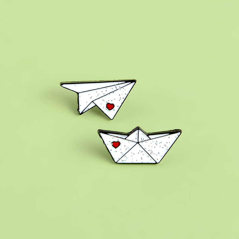 Charmart Origami Paper Plane Boat Lapel Pin 2 Piece Set Enamel Brooch Pins Badges Clothes Accessories Gifts