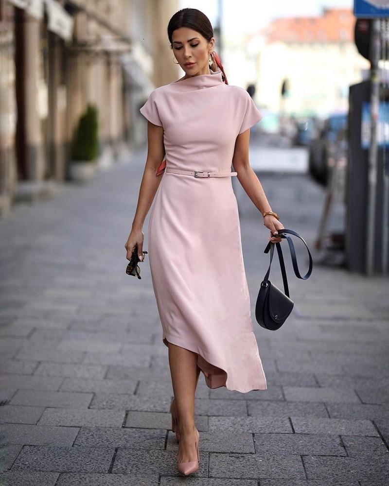 BacklakeGirls Robe Femme Formal Short Sleeve Tea Length Solid Color Evening Dress Vestidos De Fiesta De Noche Corto Good Quality