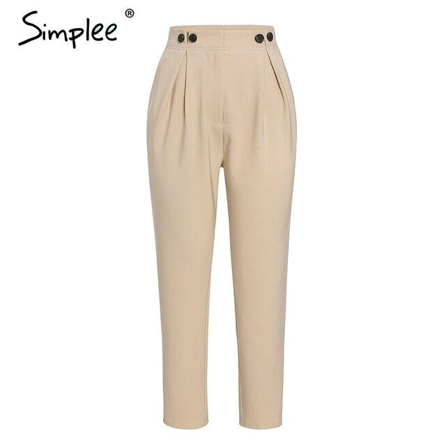 Simplee Solid casual harem pants female trousers High waist office ladies blazer suit pants Loose Ankle-length women pants 2019 4