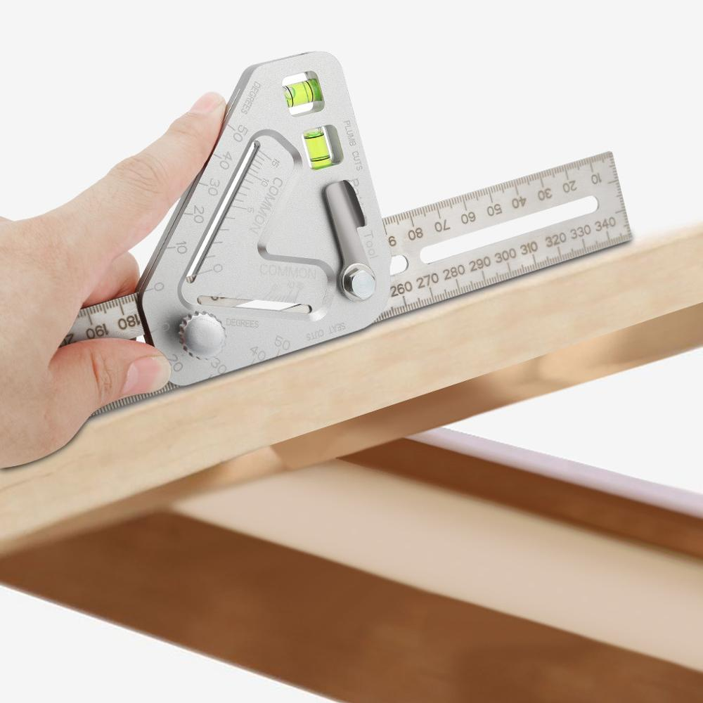 Multifunctional Woodworking Angle Ruler Gauge With Spirit Bubble Level Instrument Protractor Goniometer Measuring Scribe Tool|Protractors| |  - title=