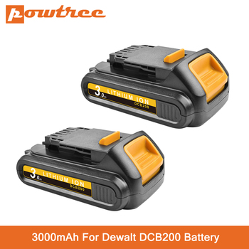 Powtree 20V 3000mAh DCB200 Li-ion Rechargeable Power Tool Battery For DEWALT DCB203 DCB181 DCB180 DCB200 DCB201 DCB201-2 L50 18v 3000mah dcb200 li ion rechargeable power tool battery for dewalt dcb203 dcb181 dcb180 dcb200 dcb201 dcb201 2 l10