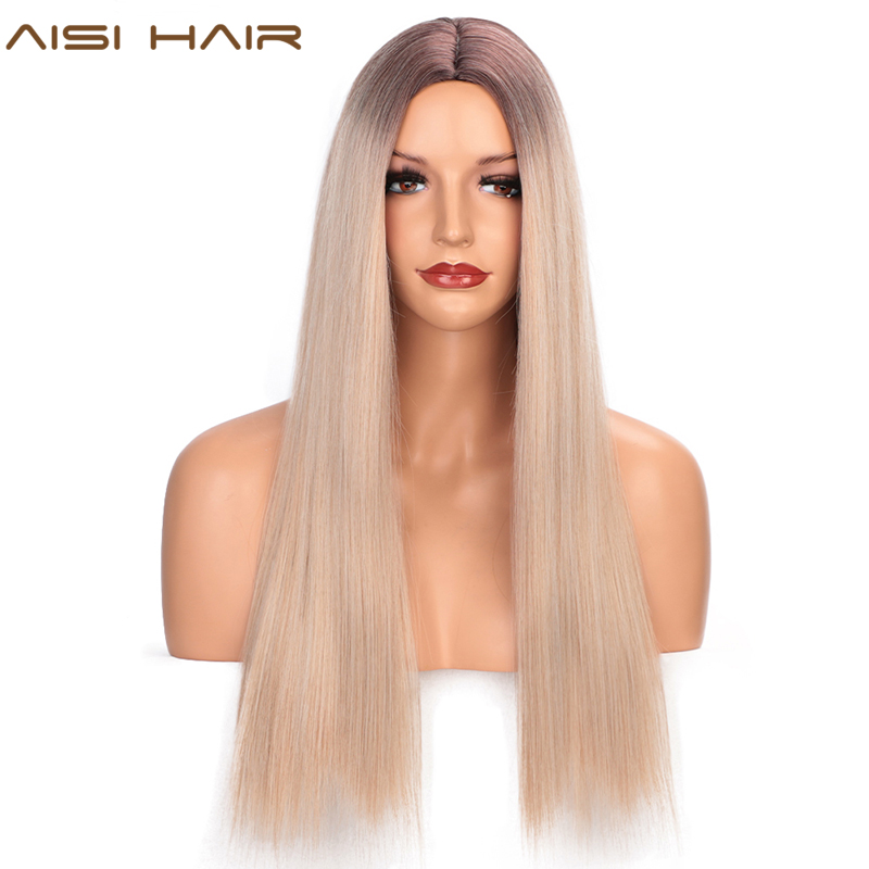 AISI HAIR Long Straight Synthetic Wig Mixed Brown And Blonde Long Wigs For Women Blue Ombre Wig Middle Part Nature Hair
