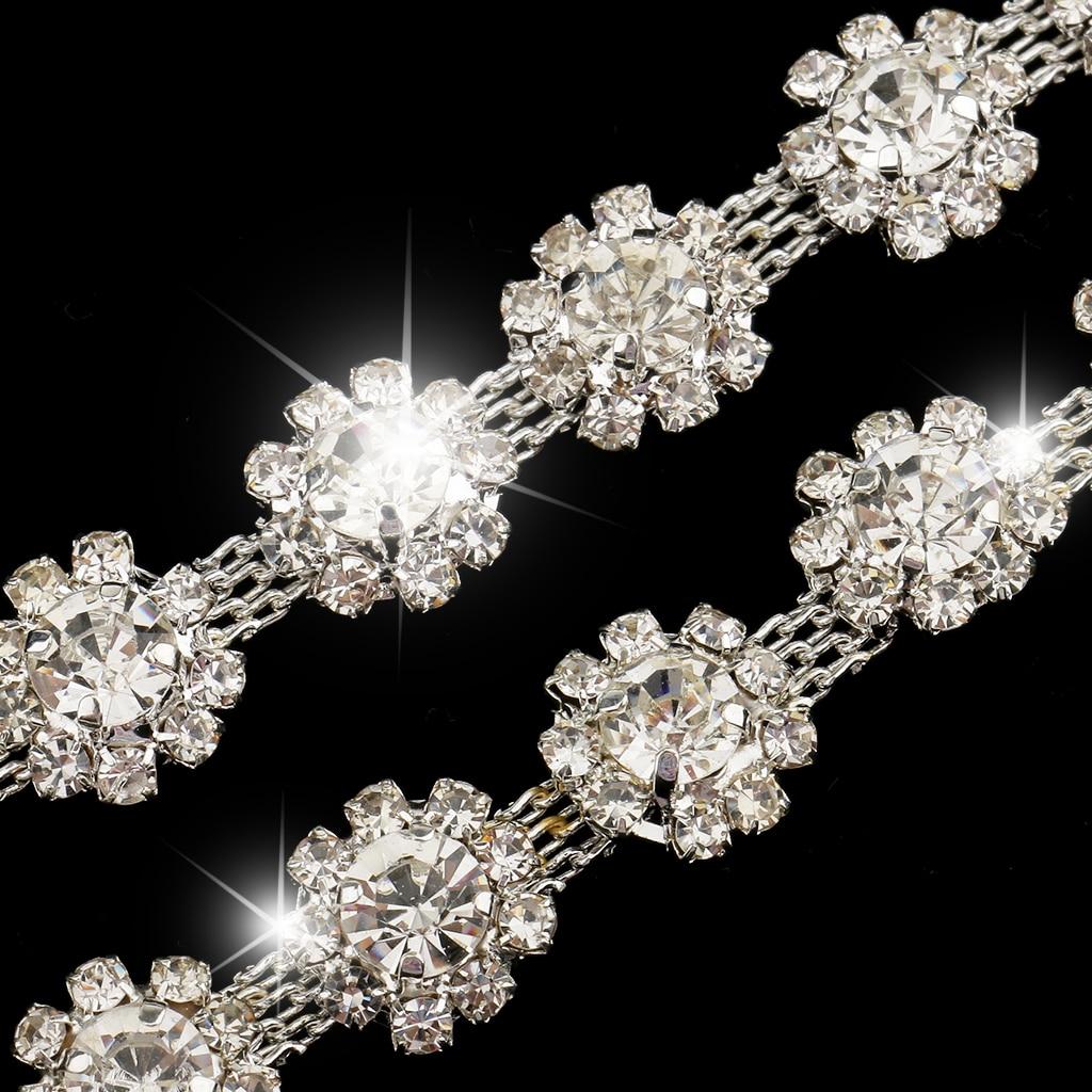 1 Yard çiçek kristal zincir şerit Trim dikiş aplike elbise dekorasyon