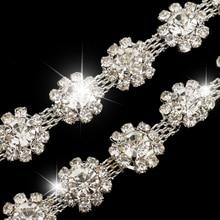 1 Yard Flower Crystal Chain Ribbon Trim Sewing Applique Clothes Decoration