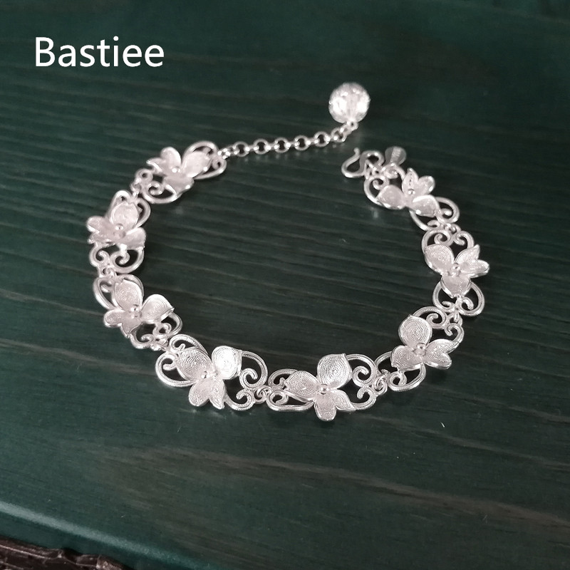Bastiee 3 leaves Flower 999 Sterling Silver Bracelet For Women Vintage Ethnic Bracelets Miao Handmade Luxury Jewelry Girl Gifts