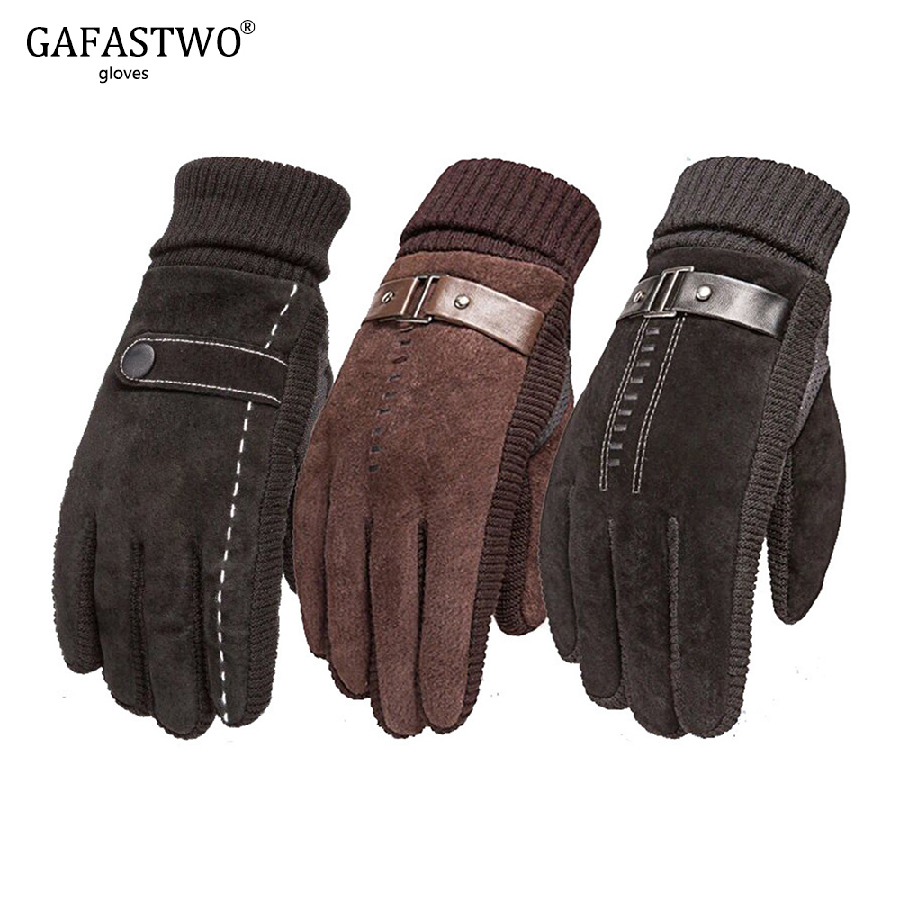 Mens Winter Windproof Waterproof Leather Gloves Riding Non-Slip Thick Warm Touch Screen Gloves