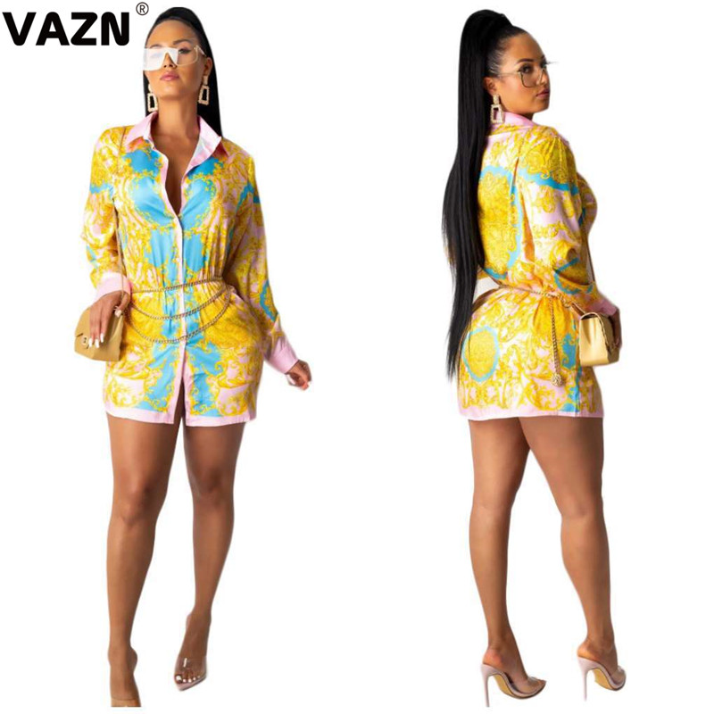 VAZN YC1911Yellow Young Sexy Fashion 2 Piece Print Long Sleeve Turn-Down Neck 2019 Short Pants Elastic Tracksuits Women Set S