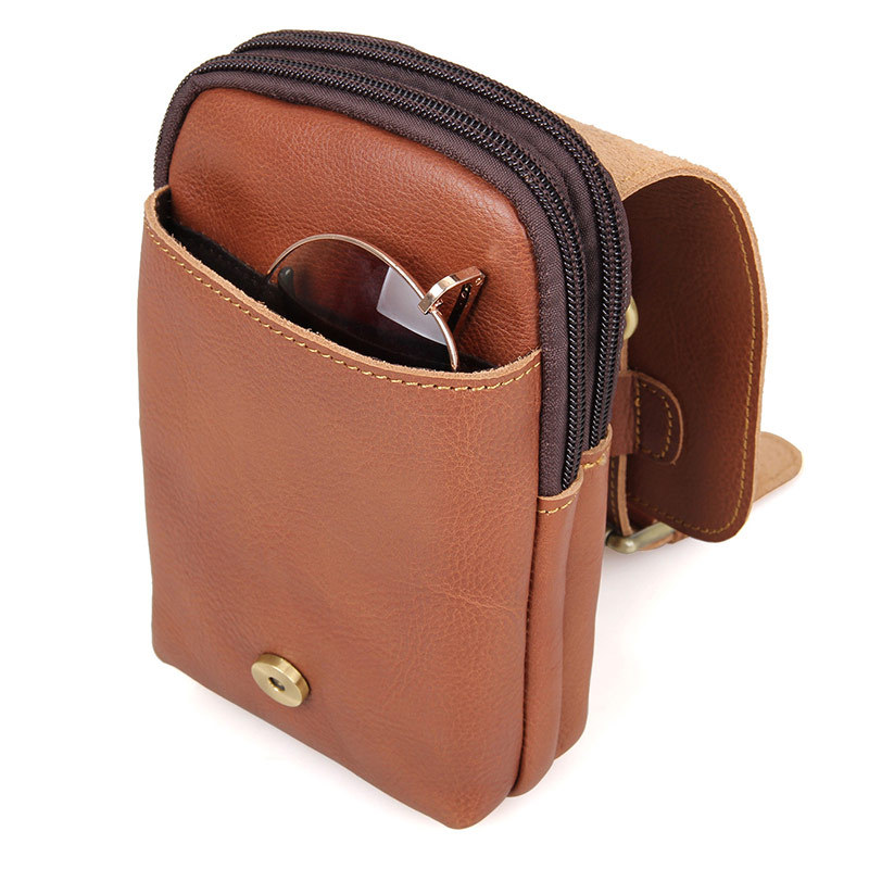 Genuine Leather Travel Men Belt Bag Solid Leather Fanny Packs
