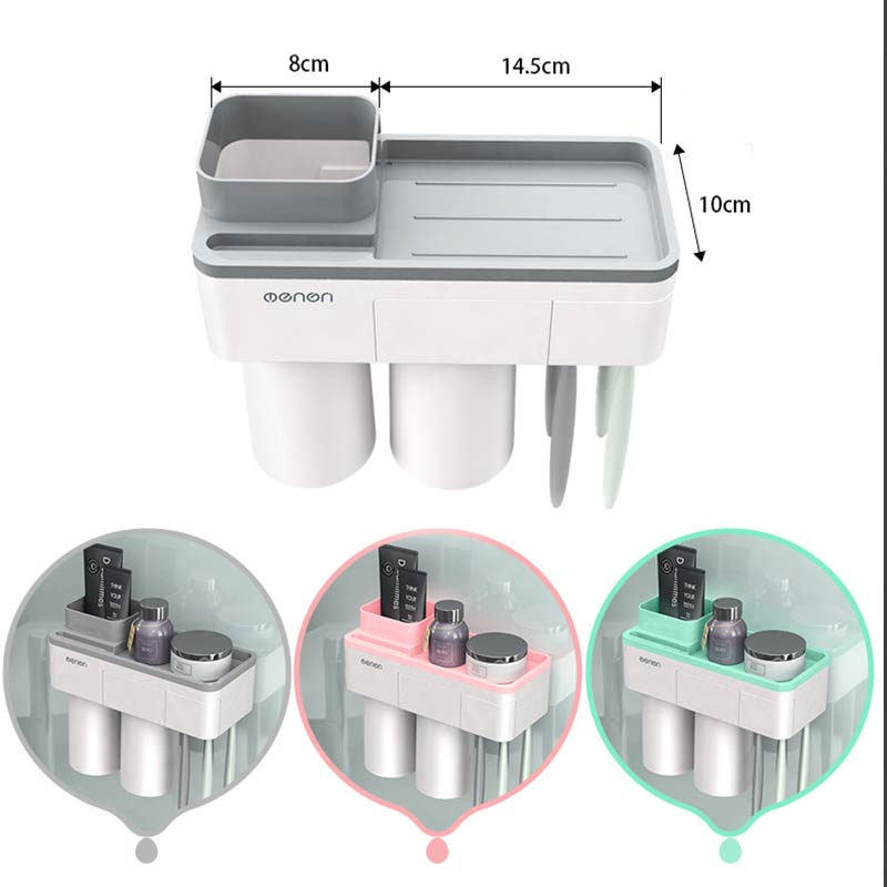 1Set Solid Pink Inverted Cup Wall Mount Green Bathroom Cleanser Storage Rack Magnetic Adsorption Toothbrush Holder Gray image