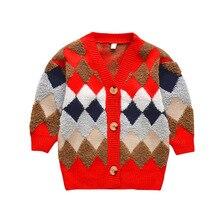 цены на 2019 New Baby Girls Cardigan Knitted Sweater for Girls Pullover Plaid Sweaters Spring Autumn Cotton Children Clothing Outerwear  в интернет-магазинах