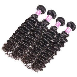 Image 3 - 人毛織りバンドルディープ波ブラジルショーレミーヘアエクステンションロング黒人女性のための 3 バンドル 28 インチ