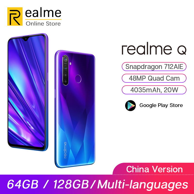 Original Realme Q 4GB 64GB 6.3'' Moblie Phone Snapdragon 712AIE Octa Core 48MP Quad Camera Cellphone VOOC 20W Fast Charger