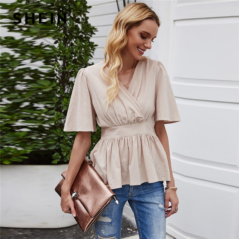 SHEIN Surplice Front Ruffle Hem Peplum Blouse Women Summer V Neck Butterfly Sleeve Ruched Back Womens Elegant Tops and Blouses