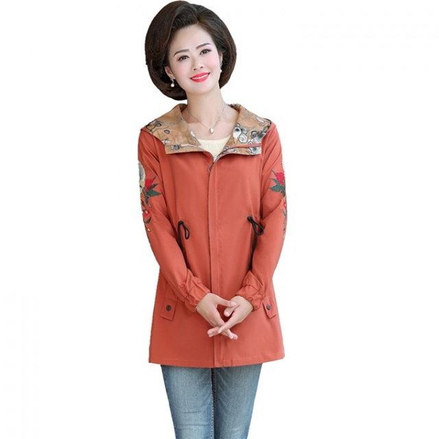2020 Women Jacket Two Side Wear Female Jacket New Autumn Emboridery Coat Plus Size Hooded Windbreak Zipper Jacket Coats Pocket 5