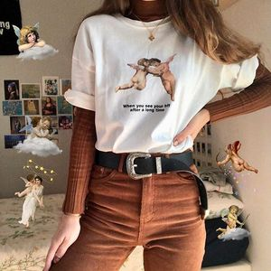 kuakuayu HJN When You See Your Bff after a Long Time Letter Print Top Women Tumblr Fashion Cute T-Shirt Summer Tee