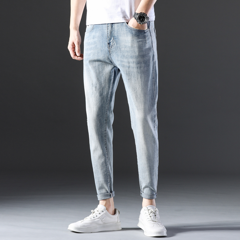 KSTUN Famous Brand Jeans Men White Blue Stretch Relaxed Tapered Pants Leisure Full Length Trousers Good Quality Jeans Male Homme 14