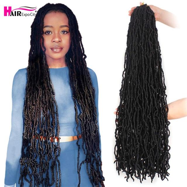 14-28 Inch Long  Messy Boho Nu Soft Locs Goddess Faux Locs Crochet Hair Black Synthetic Braiding Hair Extensions Hair Expo City