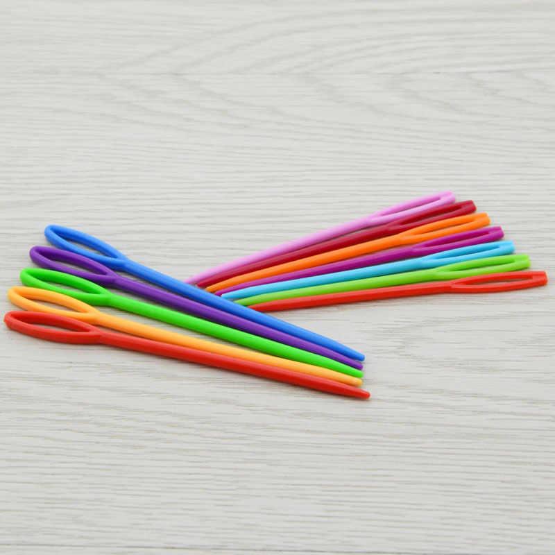 1PC aiguilles à tricoter en plastique Crochet crochets tapisserie 7 cm/9 cm laine fil aiguilles enfants bricolage chandail outils de tissage accessoires G