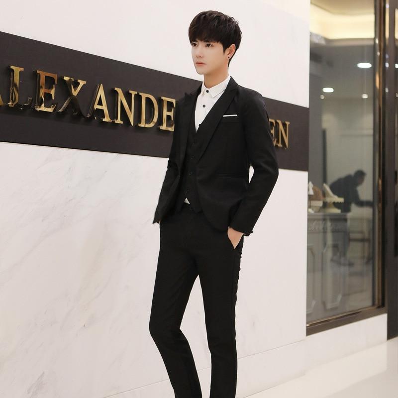 Men Summer Casual Suit Set Thin Coat Korean-style Slim Fit Two-Piece Set Trend Handsome Suit A Set