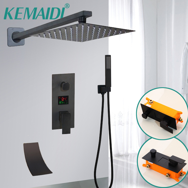 KEMAIDI Black Matte Bathroom Shower Faucet Rainfall Shower Head 3 Ways LED Digital Display Mixer Water Faucets Shower Set