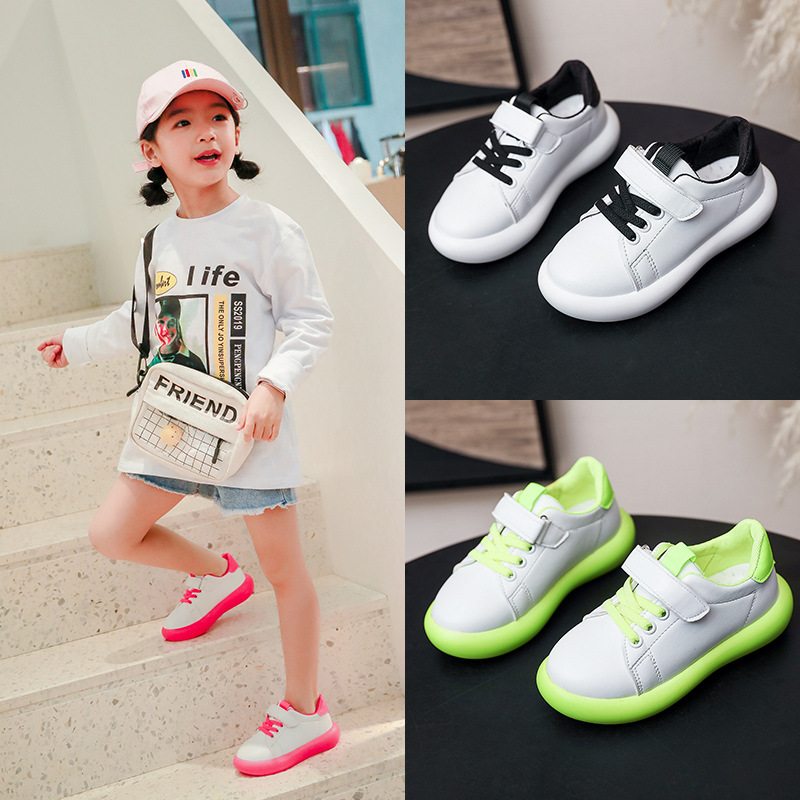 2020 Candy Color Soft Bottom Kids Sneakers Size 26-36 Student Running Shoes White Little Boy Girl Children Footwear Nice C12301